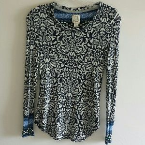 Lucky Brand Long Sleeve Thermal Top Blue White